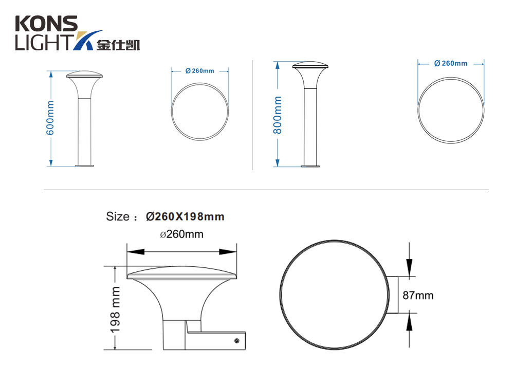 Kons-High-quality 12w Outdoor Led Wall Light Concise Design Aluminum Housing-2