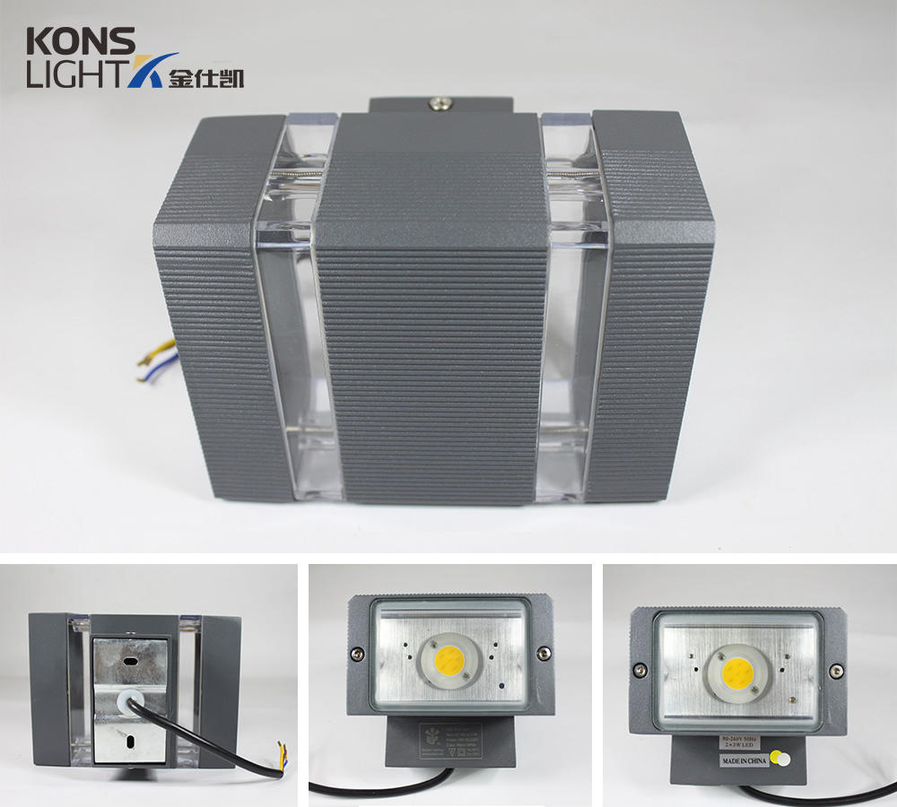 Kons-Find Led Garden Wall Lights 6w Bothway Led Wall Light Cob Led Chip Aluminum